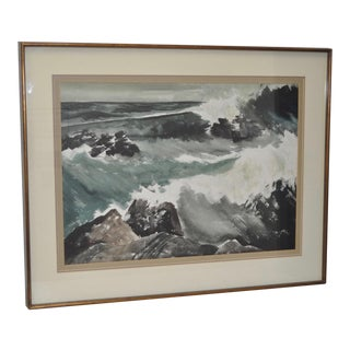 "Circa 1940s Point Sal, California State Beach ""Storm at Sea"" Watercolor Painting"