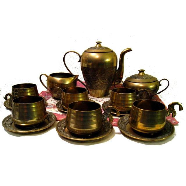 Vintage Hammered Brass Goldfish Tea Set - Image 1 of 10