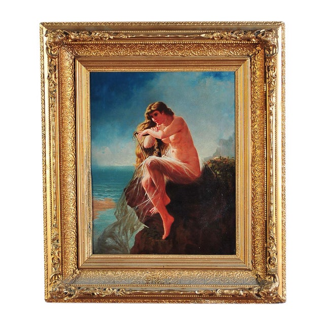 """""""Siren Looking at Sea"""" - 19th Century Oil Painting - Image 1 of 9"""