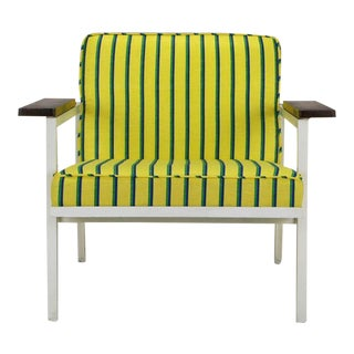 George Nelson White Lacquer & Walnut Upholstered Arm Chair
