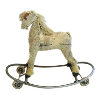 Charming Antique Christmas Toy Horse Decoration on Wheels