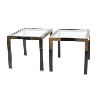 Pair of patinated-brass and dark-wood Parsons-style end tables, circa 1970s