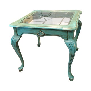 Stanley Hand Painted Teal Beveled Glass End Table