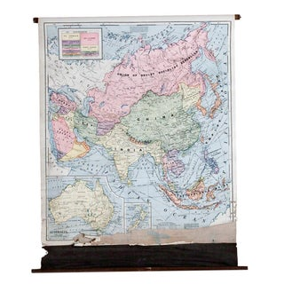 Vintage Cram's Pull Down Map of Asia and Australia