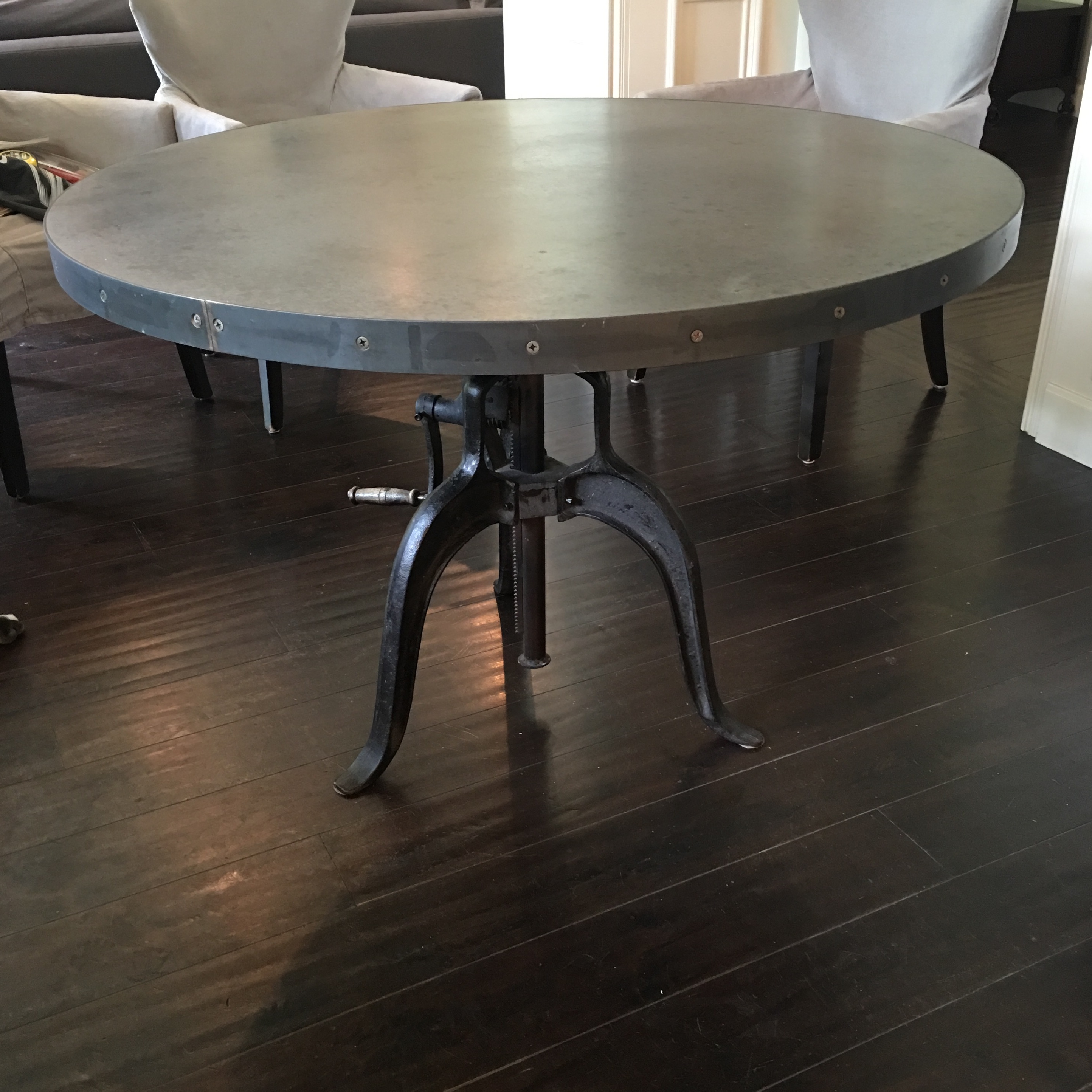 Industrial adjustable height dining table chairish
