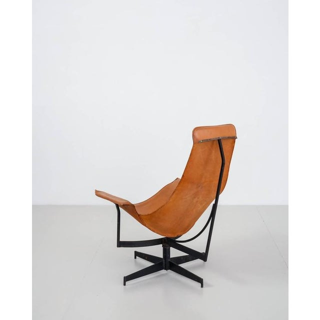 Image of William Katavolos Swiveling Brown Leather Sling Chair, USA, 1950s
