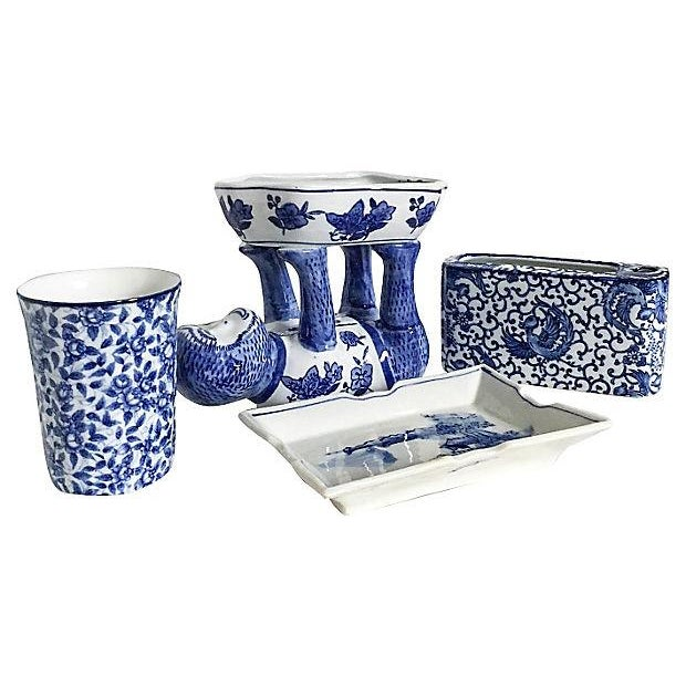 Blue white bathroom accessories set of 4 chairish for Blue white bathroom accessories