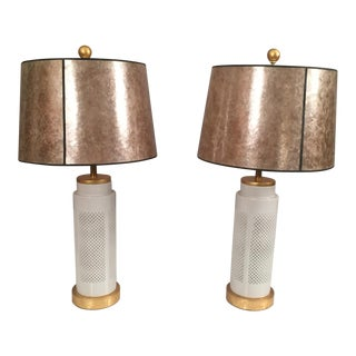 Porcelain White & Gold Table Lamps - A Pair