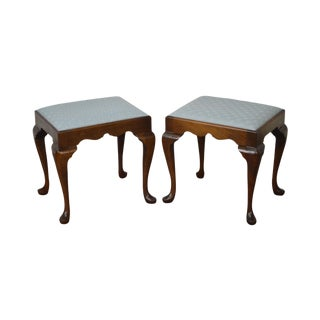Madison Square Solid Mahogany Queen Anne Benches - A Pair
