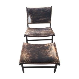 Cowhide Chair & Footstool Set