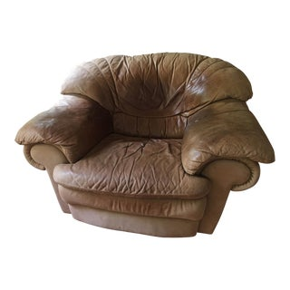 Natuzzi Brown Nubuck Leather Armchair