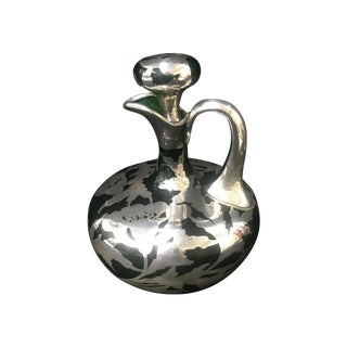 1920's Emerald Glass Silver Overlay Decanter