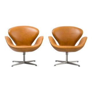 Cognac Leather Swan Chairs - A Pair