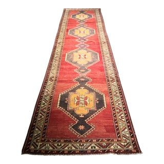 "Turkish Vintage Oushak Runner - 3'8""x14'9"""