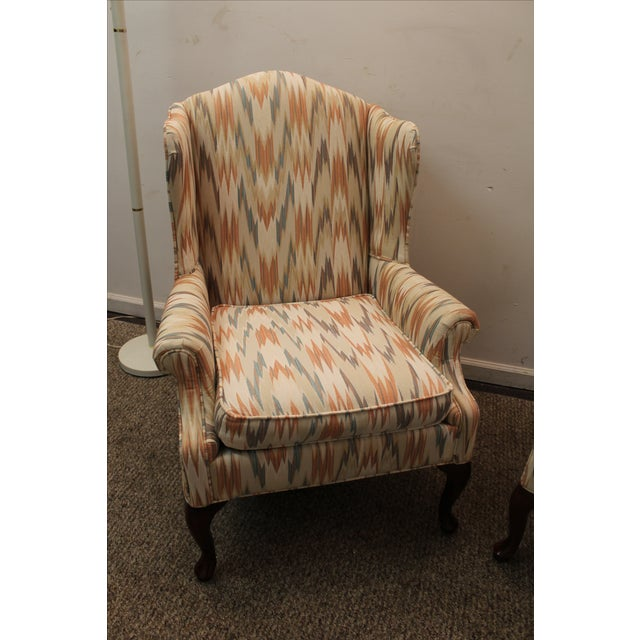 Queen Anne Fireside Wing Chairs by Rowe - Pair - Image 5 of 11