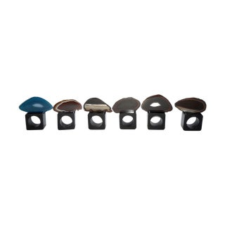 Lacquered Wood & Agate Napkin Rings- Set of 6
