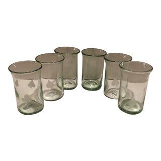 Hand Blown Glasses With Playing Card Designs - Set of 6