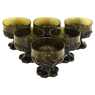 1960s Olive Green Stemmed Parfaits - Set of 6