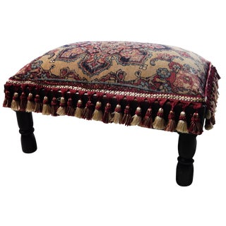 Antique Kirman Rug Low Stool
