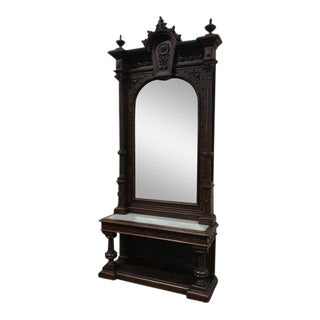 19th century Monumental Highly Carved Walnut Mirror w/Marble top console -c1850s Size 120""