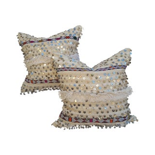Embroidered Moroccan Dowry Quilt Pillows - A Pair