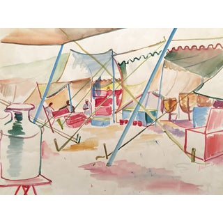 Vintage Open Air Marketplace Watercolor