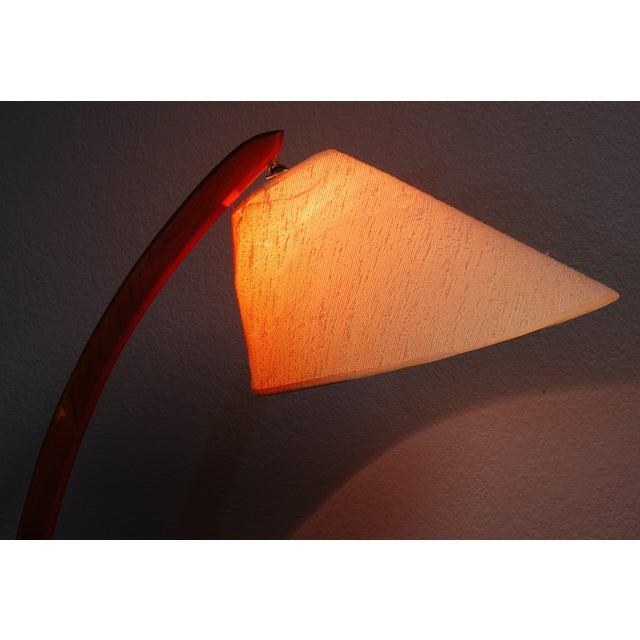 Vintage Danish Modern Teak Bowed Floor Lamp - Image 5 of 10