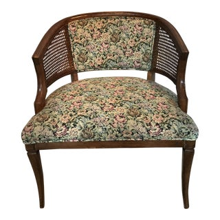 Vintage Floral Cane Barrel Back Chair
