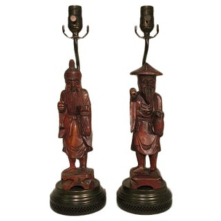 Wooden Chinese Figurine Lamps - Pair