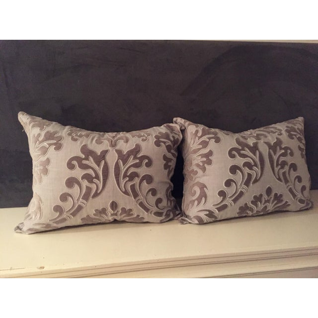 Linen and Velvet Meet Each Other Pillows - A Pair - Image 8 of 8