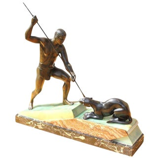 French Art Deco Patinated Bronze Sculpture of Hunter by Lemoine Circa 1940s