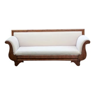 Antique 19th C. Biedermeier Burl Walnut With Cream Velvet Sofa