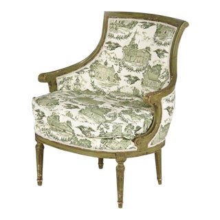 French Louis XVI Style Barrel Back Painted Arm Chair