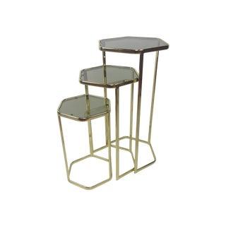 Brass Hexagon Nesting Tables - Set of 3