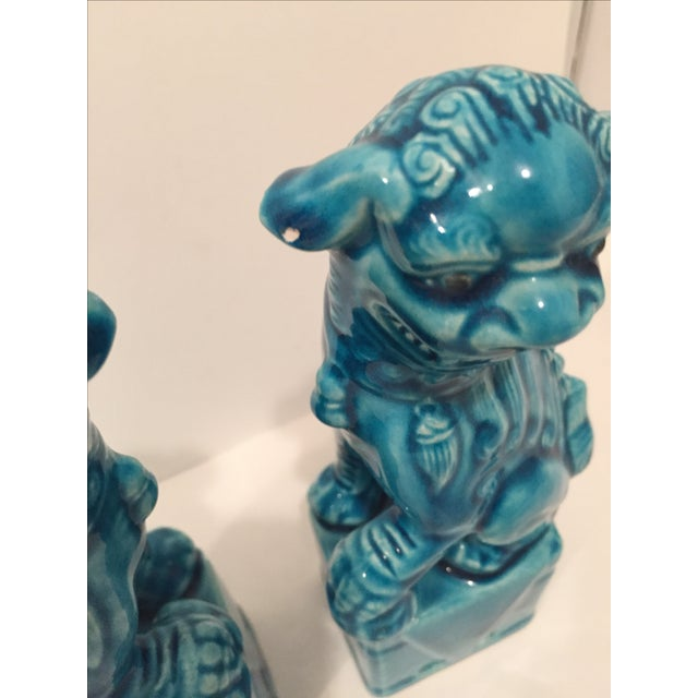 Turquoise Vintage Foo Dogs - A Pair - Image 4 of 9