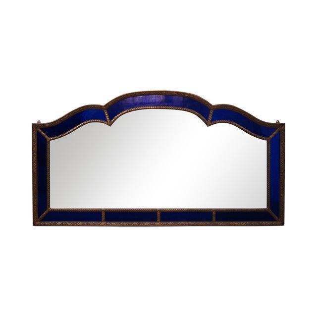Image of Art Deco Cobalt Blue Glass/Gilt Mirror