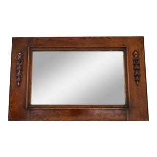 Antique Hand Carved Wood Hanging Wall Mirror