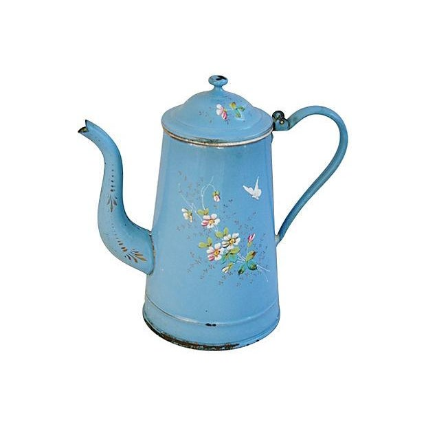 French Hand-Painted Enamelware Coffeepot - Image 5 of 7