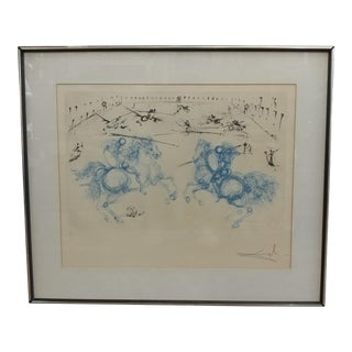 "Salvador Dali Horseman Fight ""Jousting"" Limited Edition Lithograph, Pencil Signed"
