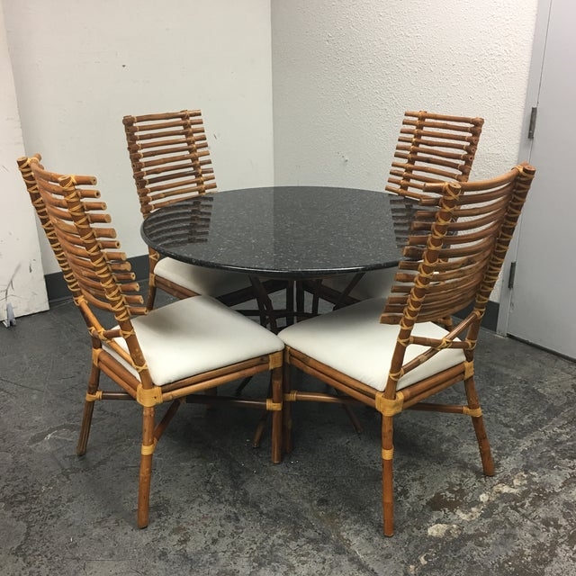 Granite & Rattan Dining Table & Chairs - Image 2 of 9