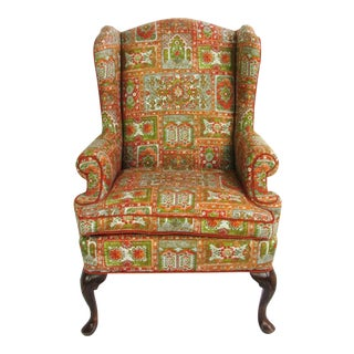 Velvet & Print Wingback Chair