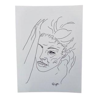 Girl Original Artwork Pen on Archival Paper