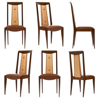 French Art Deco Solid Walnut Dining Chairs - Set of 6