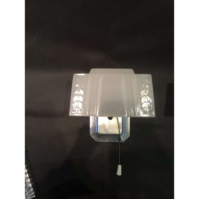 Image of Art Deco Sconces With Glass Shades - A Pair