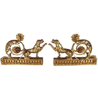Pair of Italian, Gilded Dog Sculptures