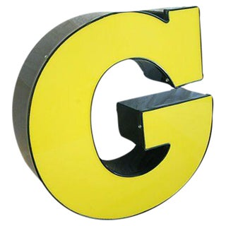 Large Vintage Yellow & Black Marquee Letter G