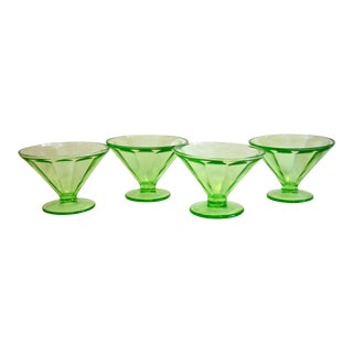 Green Glass Dessert Coupes - Set of 4