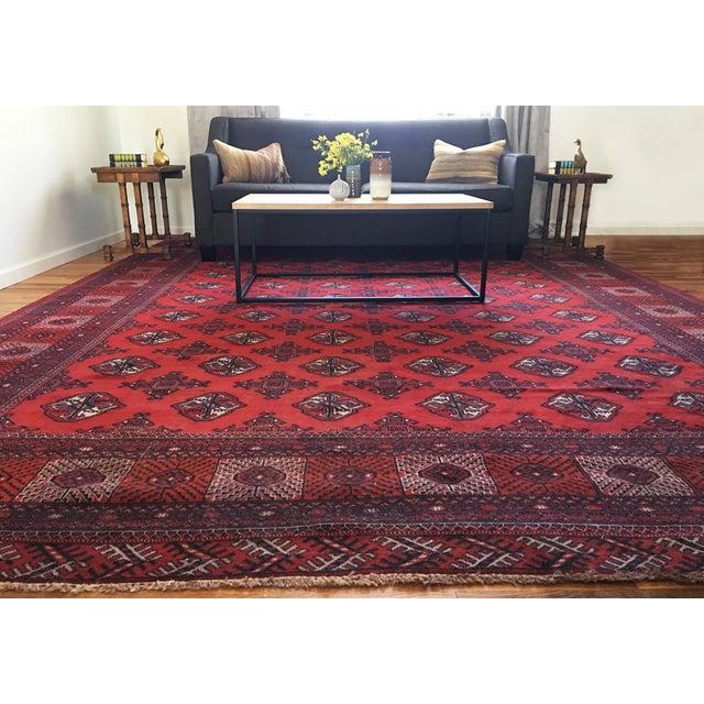 Rugsindallas Vintage Persian Design Wool Area Rug: Vintage Persian Bokhara Wool Area Rug - 10' X 13'
