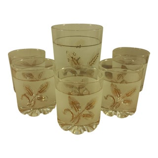 Golden Leaf Ice Bucket & Tumblers - Set of 5