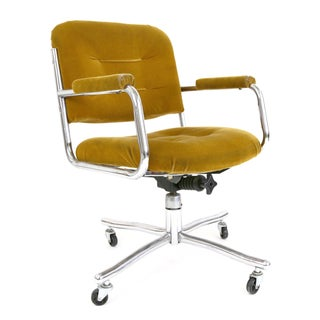 Vintage Milo Baughman Style Swivel Office Chair